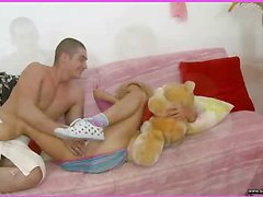 Brianna is home alone playing with her teddy bear when this chick is lastly approached by her stud. This Guy goes down on her cookie and laps up each drop of her moist snatch and then this guy bonks her slit hole with a purple sex-toy. That Guy fingers her constricted little chocolate hole as this guy stretches the muscle. This Honey takes a double penetration of the sextoy and his fingers in her holes. BriannaтАЩs booty is priceless and constricted and heтАЩs doing his most good to stretch it for his dick as this chab fingers her and stretches her muscle. Then little Brianna takes him in her mouth as heтАЩs still trying to stretch her open for his shlong. That Guy copulates her cum-hole for several minutes and then starts the task of putting the tip of his rod her butt in as that chick squirms. Lastly that chick sucks him off on the couch as that guy cums in her mouth.