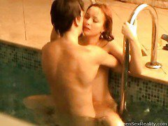 Check out this wicked redhead legal age teenager going skinny dipping with one of her male allies. This Babe thinks that it`s just the two of 'em and that that babe can do whatsoever that babe wants out of anyone else ever finding out, but secretly outside the pool, is a voyeur photographer. That Guy`s filming throughout the window, looking in at the indoor pool and those two teenies getting very wicked. And it`s not lengthy in advance of they`re doing a lot more than just skinny dipping. Pretty Soon this legal age teenager mounts her paramour right in the pool. It doesn`t stop there either!