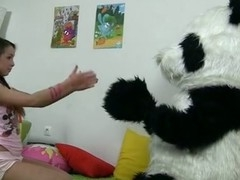 In this unusual sex episode u'll watch a beautiful teenage hotty playing with toy. But it's not just a toy, it's a large panda bear, and this guy's so fun to play with! That Guy can do anything the gal wants, but this babe should strip exposed in return. But imagine the gal's surprise when this babe saw panda's huge strap on! This Playgirl had at no time thought of him as sex partner in advance of, but since this guy's so well-equipped and horny, why not go for a nasty sex play with him? So the panda bear banged the breasty teenage in all possible poses with his dong sex tool.